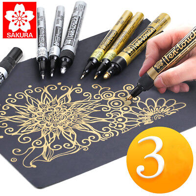 Sakura Pen-Touch Paint Markers for Christmas Cards & Crafts White,Golden,Silver