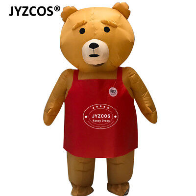 Adult Teddy Bear Mascot Costume Inflatable Blow Up Suit Party Fancy Dress Women