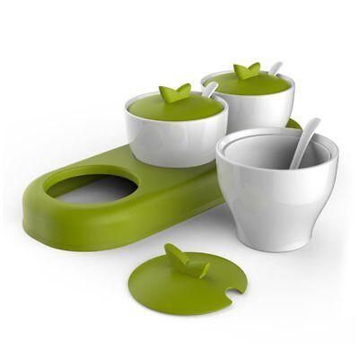 Ceramic Spice Box - zova Ceramic Condiment Spice Jars Seasoning Box with Lid, Serving Spoon and