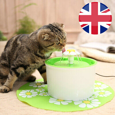 Dog Cat Drinking Water Fountain Pet Electric Automatic Bowl Filter 1.6L UK Plug