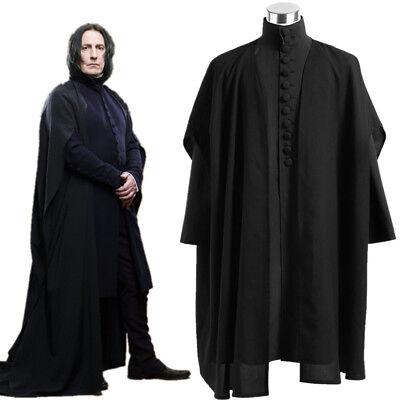 Harri Potter Deathly Hallows Severus Snape Black Uniform Cosplay Costume Cloak](Harris Costume)