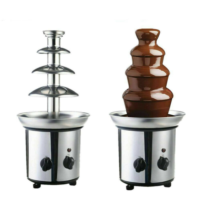 4 Tiers Luxury Chocolate Fondue Fountain Commercial Stainles