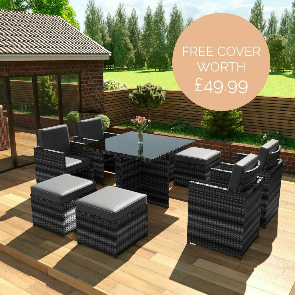 Garden Furniture - Rattan Garden Furniture 8 Seater Dining Table Cube Set with Arm Chairs & Stools