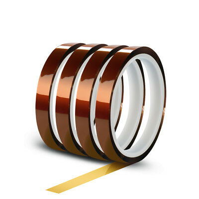 4 Rolls 10mm X 30m100ft High Temperature Heat Resistant Kapton Polyimide Tape