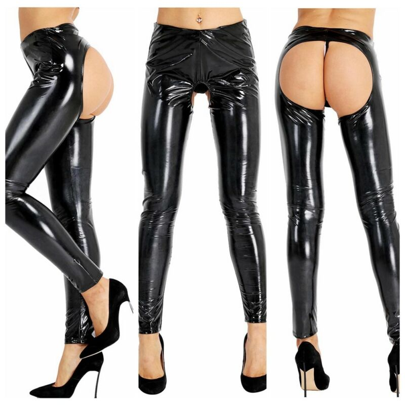 Legginsy Sequin Front PU Leggings Women Wet Look Skinny High Disco Pant Trousers 6 Colors