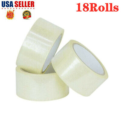 18 Rolls Carton Sealing Clear Packing Tape Box Shipping 1.9 Inch X 110 Yards Us