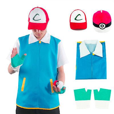 Pokemon Ash Kostüm Cosplay Outfit Jacke Hut Pokeball Größen (Ash Kostüm Pokemon)