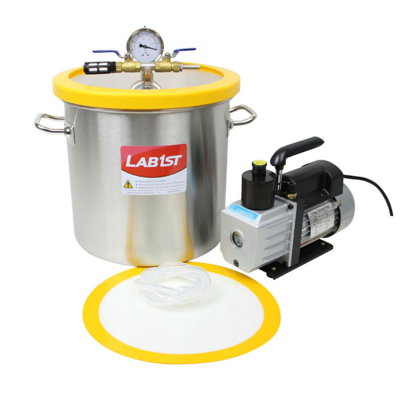 5 Gallon Stainless Steel Vacuum  Chamber with 3CFM Pump for Degassing Silicone
