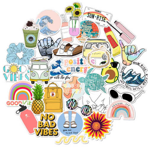 10pcs VSCO Girl Stickers Hydro Flask Good Vibes Decal Teen Cute Positivity