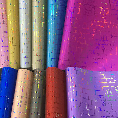 A4 Laser Holographic PU Leather Fabric Shiny Material for Bow Craft Bag Wallet