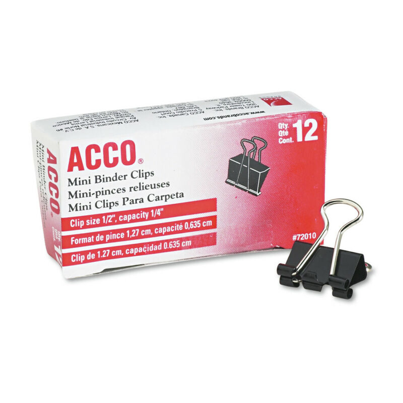ACCO 72010 12-Pc. 1/4 in. Cap. Mini Binder Clips (Black/Silver) New