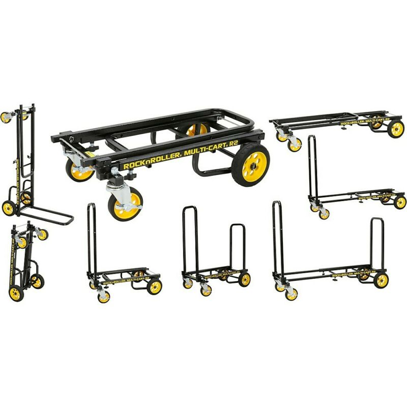 Rock N Roller Multi-Cart 8-1 Micro Equipment Transpter Cart Black Frame/Yellow