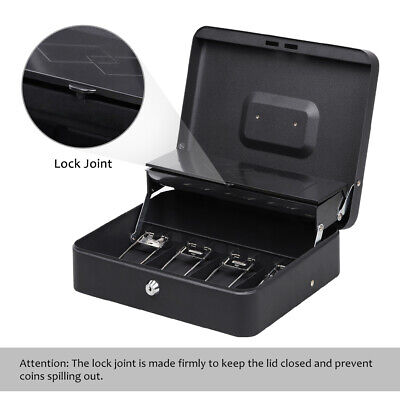 Portable Cash Box With 5 Coin Money Tray Cash Drawer Key Lock Safety Storage Lid