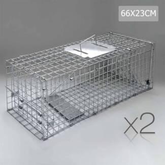 2 Safe Humane Animal Trap Cage Possum Cat Rabbit Fox Koala Hare
