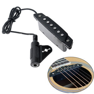 Belcat Soundhole Pickup with Active Power Jack for Acoustic Classic Guitar Black