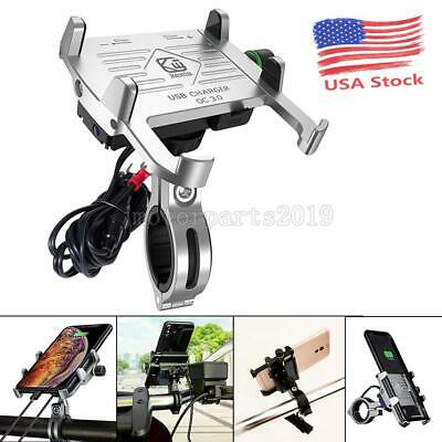 Silver Handlebar Motorcycle Cell Phone GPS Holder Mount USB Charger Accessories