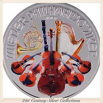 2013 Austrian Philharmonic Colorized .999 Silver 1 Oz Unze Rare