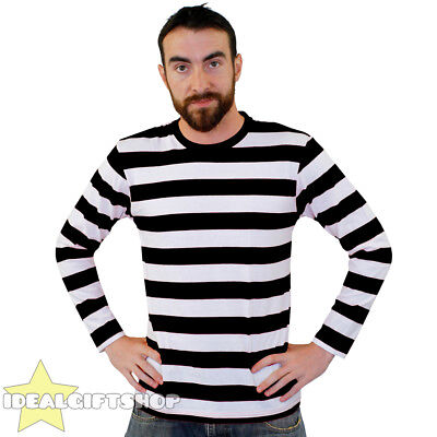 STRIPED T SHIRT TOP BLACK AND WHITE FANCY DRESS LONG SLEEVE 100% COTTON - Top 100 Fancy Dress Kostüm