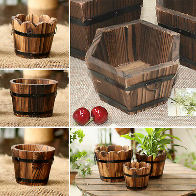 (Wooden Flower Retro Planter Barrel Office Outdoor Home Garden Pot Basket Decor)