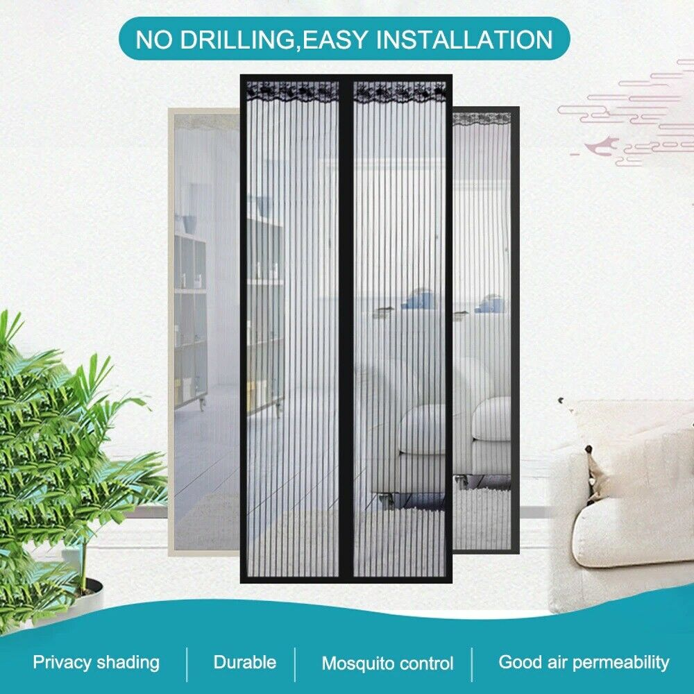 Magnetic Screen Door Mesh Hands-Free Net Mosquito Fly Insect Bug Curtain Closer 2