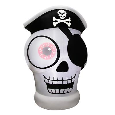 Gemmy 5' One-Eye Pirate Skull Halloween Inflatable - Airblown Yard Decor SALE!