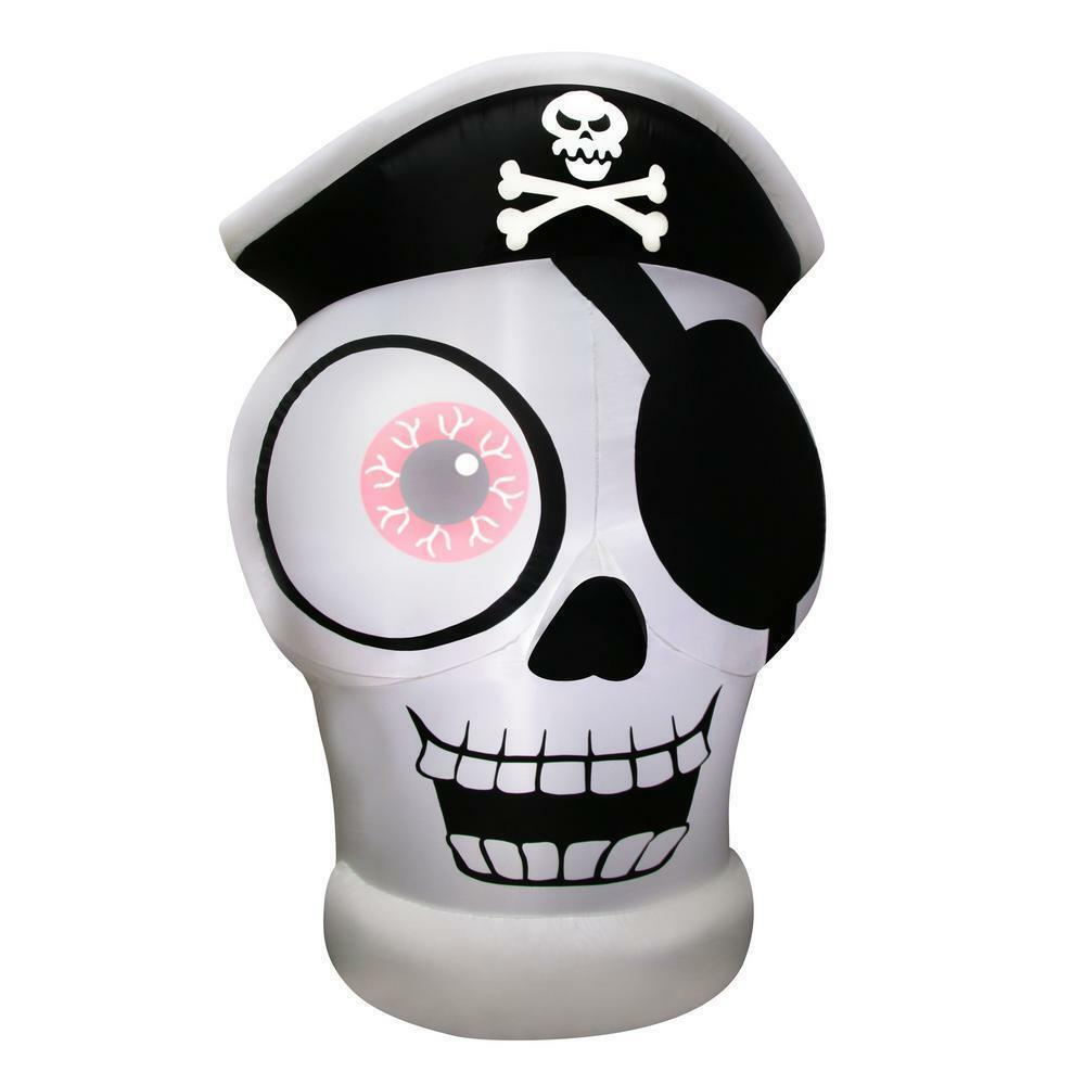 5' One-eye Pirate Skull Halloween Inflatable - Airblown Yard Decoration