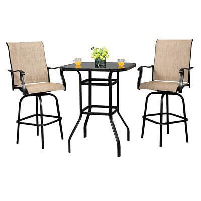 Garden Furniture - Outdoor Patio Furniture High Bistro Stools Chairs Table Set Garden Yard Kitchen