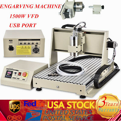 Usb 4 Axis 6040 Cnc Router Engraver Engraving Milling Machine Ball Screws 1.5kw
