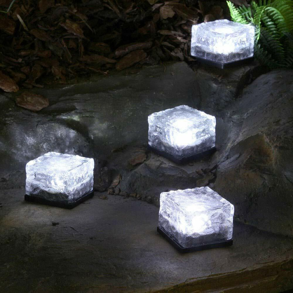 Solar Powered LED Glass Ice Cube Brick Block Frosted Garden