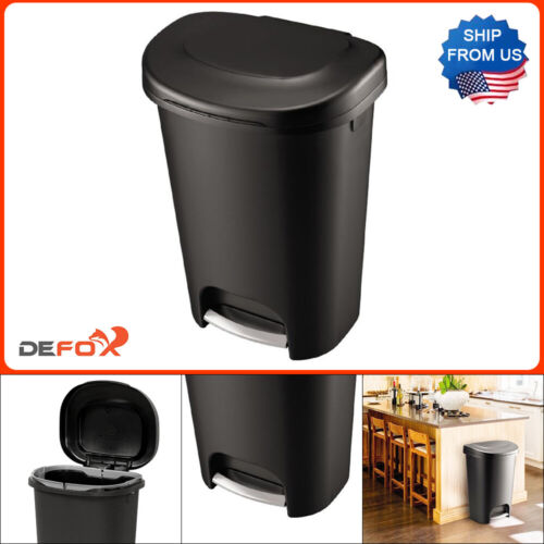 Rubbermaid 13 Gal. Black Step-On Indoor Kitchen Trash Can