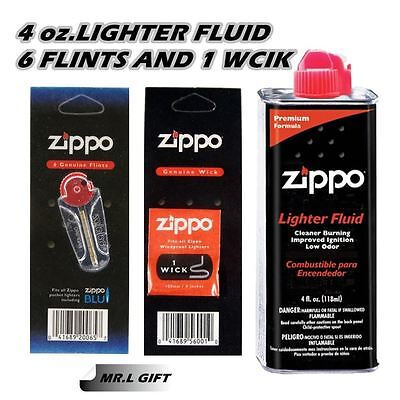 Zippo 4oz Fuel Fluid 1 Flint & 1 Wick Value pack Combo