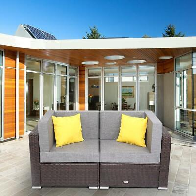 Garden Furniture - Rattan Garden Corner Sofa Loveseat Sectional Furniture Outdoor Patio Wicker