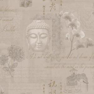 Carta da parati disegno buddha nuovo oro fiori elefanti for Carta da parati damascata oro