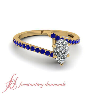.65 Ct Pear Diamond And Sapphire Gemstone Engagement Ring Pave Set GIA Certified