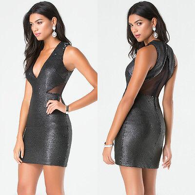 BEBE BLACK V NECK MESH GLITTER SEQUIN DRESS NEW NWT $179 MEDIUM M 8
