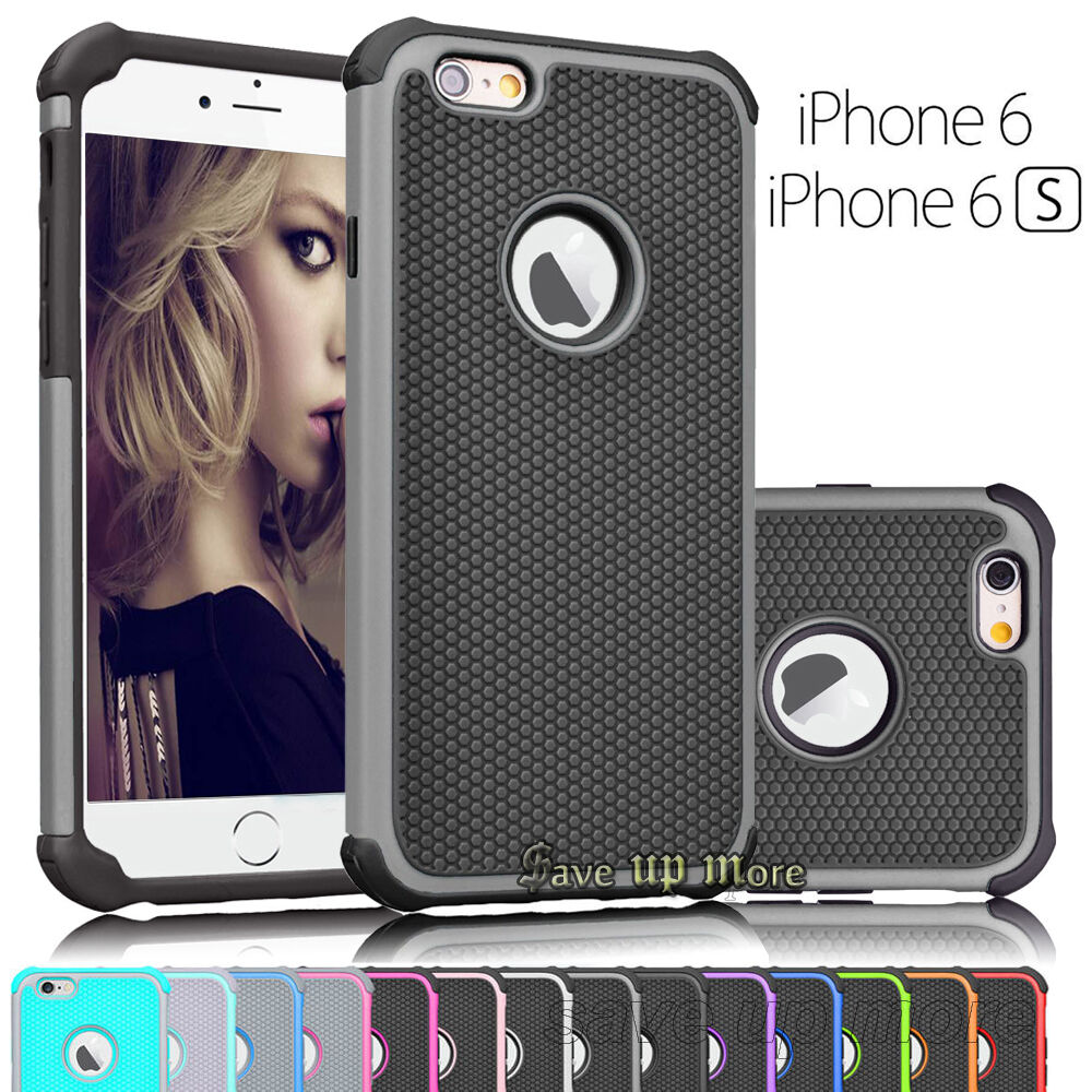 Shockproof Hybrid Rugged Rubber Defender Case Cover For iPhone 6 6s & Plus