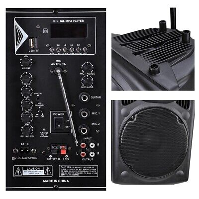 "15"" Portable Active PA Speaker Wireless Bluetooth SD card USB w/ Mic and Remote"