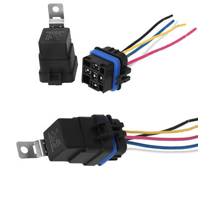 2x Automotive Car Auto 5 Pin Relay Socket Harness Plug Holder 40 Amp Waterproof