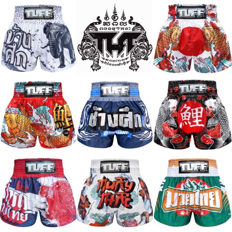 TUFF Muay Thai Boxing Shorts Black Blue Red White Elephant Training Kick MMA 6J