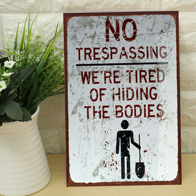 30x20 NO Trespassing Tin Sign Bar Pub Cafe Home Wall Decor Metal Art Poster DJ8
