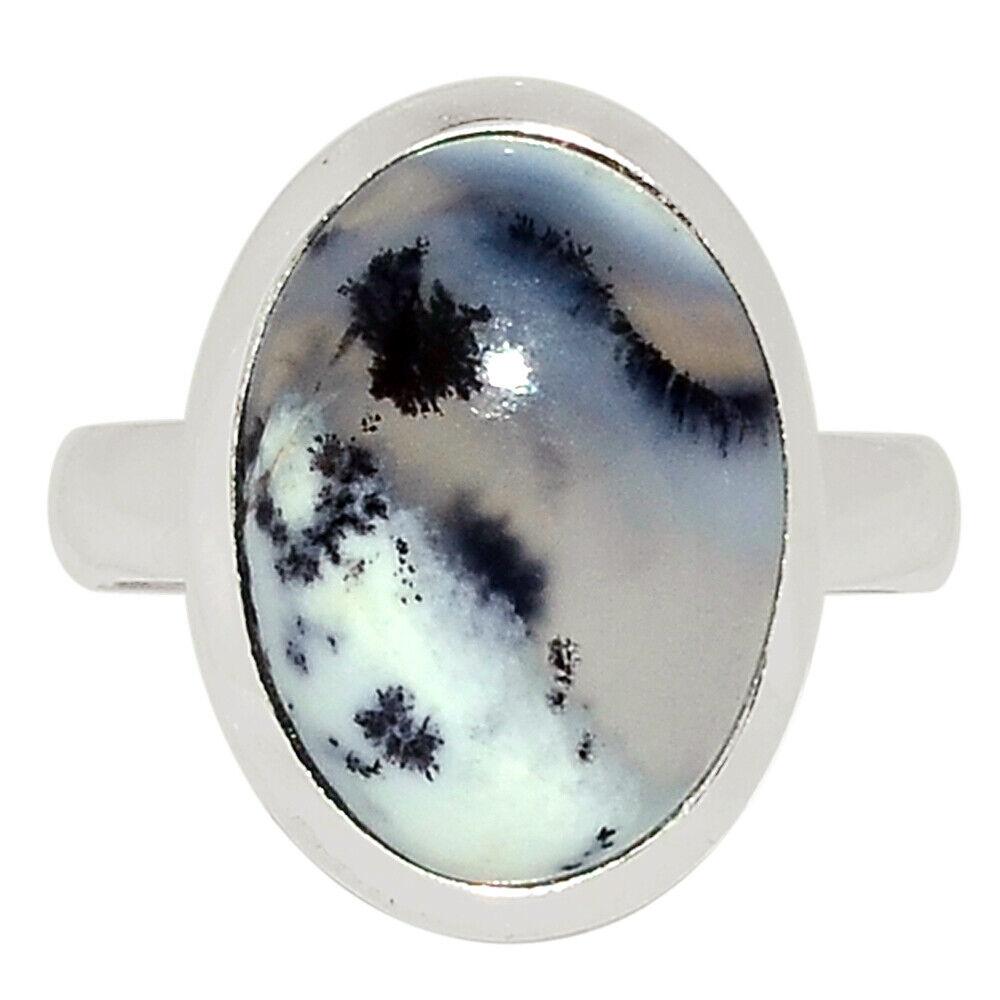Merlinite Dendritic Opal - Turkey 925 Sterling Silver Ring Jewelry S.7 BR33255 - $10.99