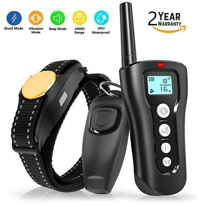Dog Shock Collar With Remote Waterproof Electric For Large Yard Pet Training 3Mo