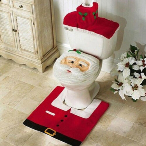 Merry Christmas Toilet Seat & Cover Santa Claus Bathroom Mat Xmas Home Decor NEW