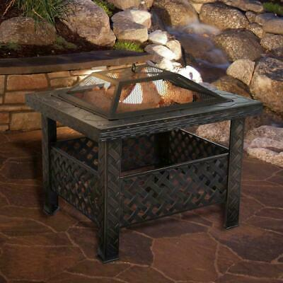 26'' Square Steel Garden Fire Pit Outdoor Patio Heater Log Burner Stove Black