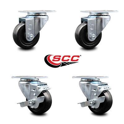 Hard Rubber Swivel Caster Set Of 4 W3 Wheels - 2 Wbrakes