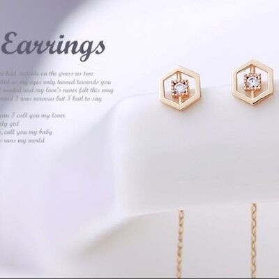 14K Solid Yellow Gold Hexagon Drop Long Threader Dangle a Pair of Earrings TPD
