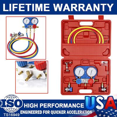 R134a R404a R22 R410a Hvac Refrigeration Charging Kit Ac Manifold Gauge Set 5ft