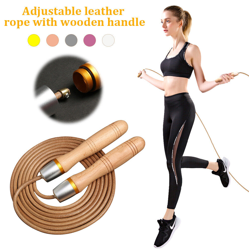 Gym Fitness Leather Skipping Jump Rope Aerobic Exercise Adjustable Unisex