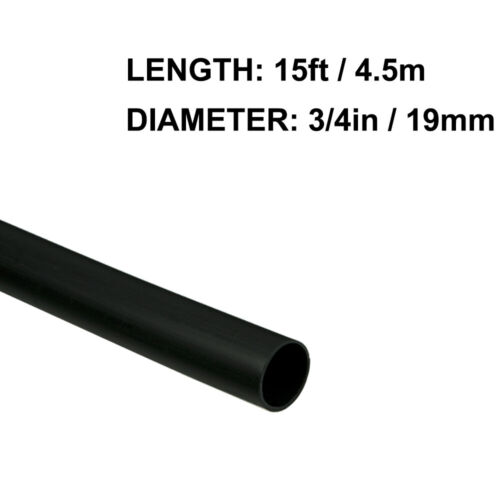 3/4in (19mm) Diameter Heat Shrink Tubing Shrinkable Tube 15ft Black 3:1 Ratio