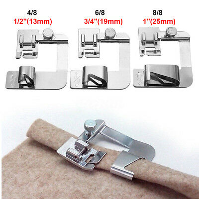 3Pcs Wide Rolled Hem Hemmer Foot For Domestic Sewing Machines Snap On Presser US